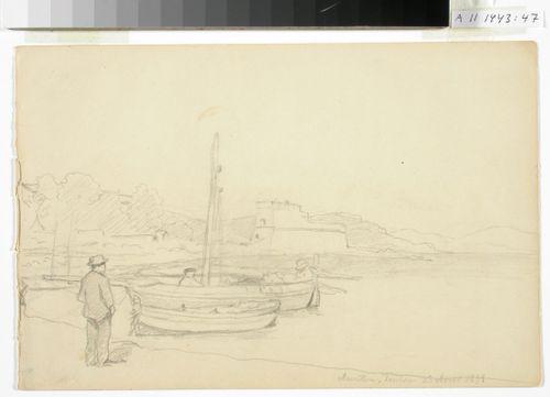 Merenlahti, rannassa purjeveneitä ja miehiä, taustalla vanha linna