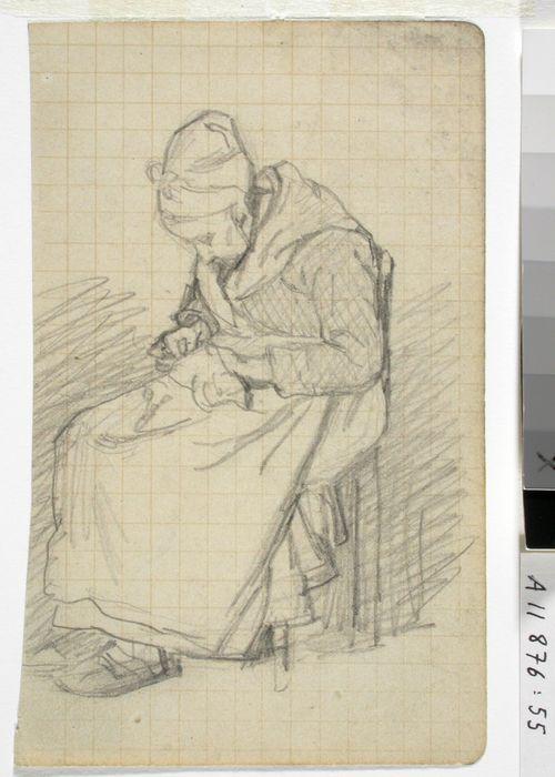 Vanha nainen käsitöineen