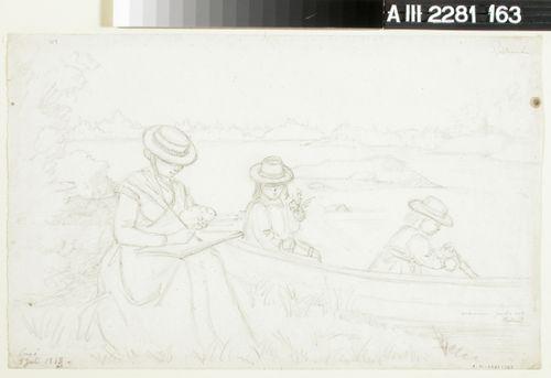 Taiteilijan vaimo maalaamassa rannalla ja tyttäret istumassa veneessä