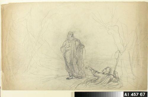 Väinämöinen puhumassa makaavalle miehelle ; Luonnos Kalevalakuvitukseksi