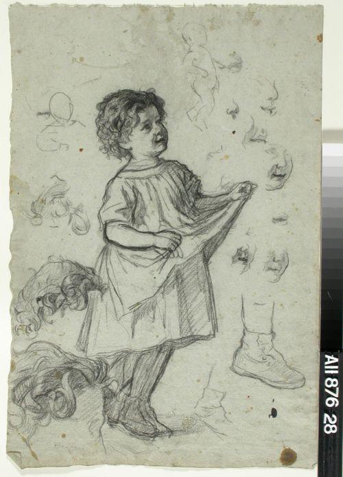 Esiliinansa helmaa kohottava pieni tyttö. Harjoitelmia miehen hiuksista, lapsen kengästä, lapsen kasvoista ym.