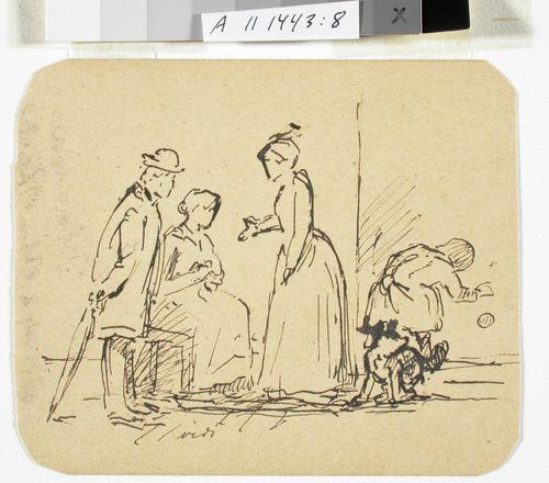 Mies sateenvarjoineen ja kaksi naista keskustelemassa sekä tyttö ja koira