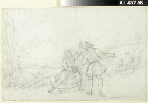 Tuli karkaa, luonnos Kalevala-aiheiseen piirrossarjaan ; Vene saapumassa rantaan (kaksipuolinen teos)