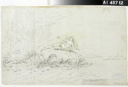 """Ainon surma ; Originaalipiirustus piirrossarjaan """"Kalewala, Finsk dikt, framställd i teckningar af R.W.Ekman"""" (vihko III)"""