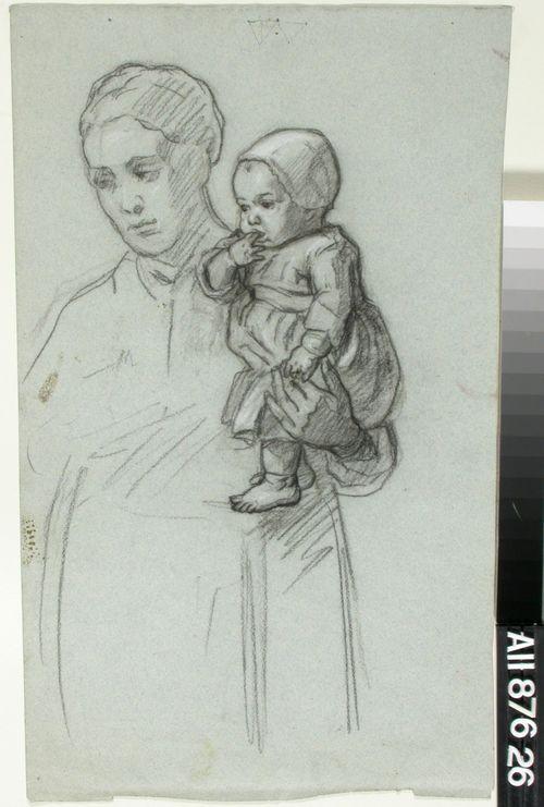 Nainen vauva käsivarrellaan
