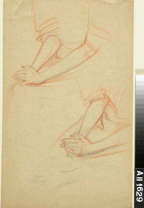Kaksi käsi- ja käsivarsiharjoitelmaa istuvasta naisesta