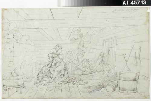 """Jänis tuo sanan Ainon kuolemasta. Originaalipiirustus piirrossarjaan """"Kalewala, Finsk National-dikt, framställd i teckningar af R.W.Ekman"""""""