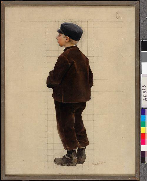 Poika ruskeassa puvussa