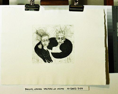 Valtias ja vaimo (salkusta Lahden taideinstituutti, Grafiikkaa 1988)