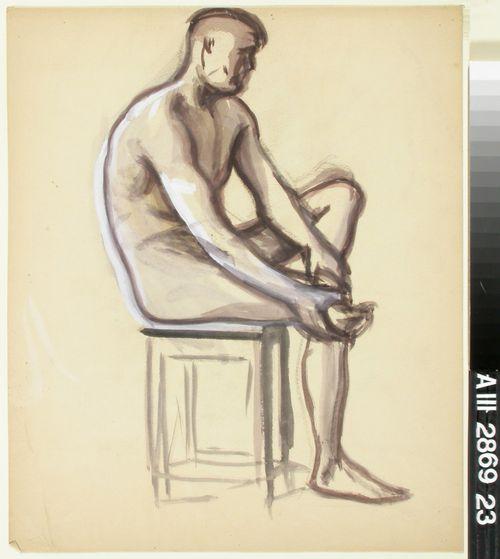 Istuva alaston, luonnos