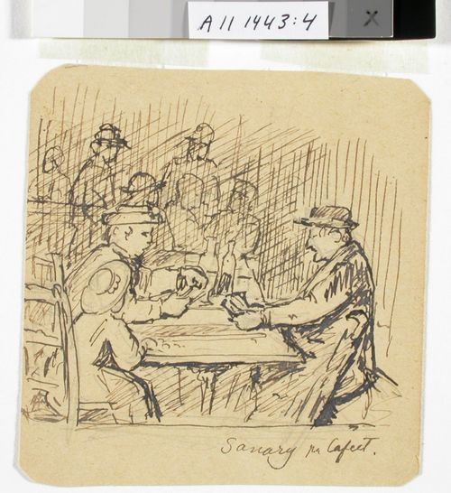 Korttia pelaavia miehiä kahvilassa