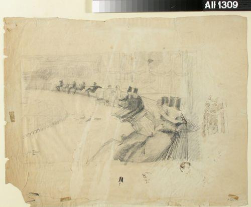 Herroja ja naisia istumassa puiston penkillä ; Kuvan alapuolella tussilla piirrettyjä miesten päitä
