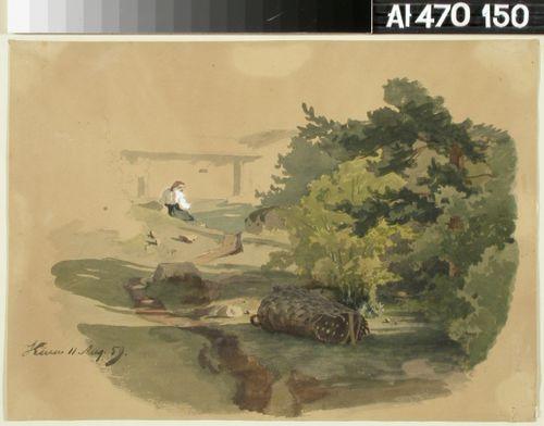 Maisema, jossa rikkinäinen pärekori ja istuva nainen