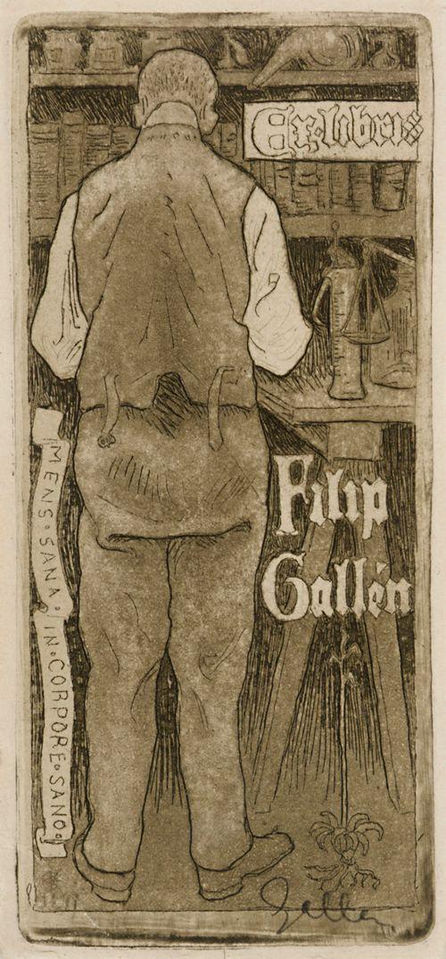 Taiteilijan veljen, apteekkari Filip Gallenin exlibris