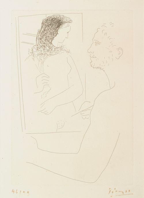 Taidemaalari taulunsa ääressä
