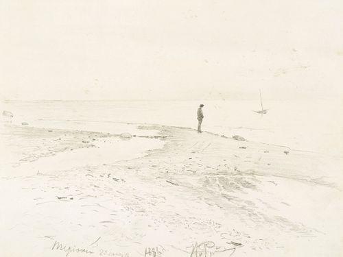 Taiteilija Konstantin Pervuhin meren rannalla