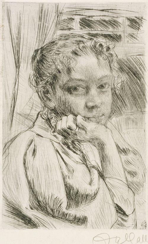 Taiteilijan vaimo Mary Gallen ; Toinen kuva samasta mallista (kaksipuolinen teos)