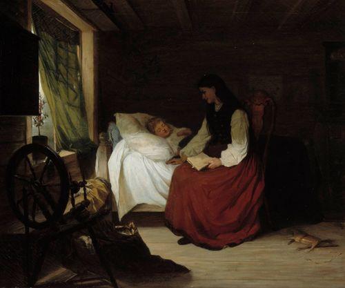 Äiti nukkuvan lapsen vuoteen vieressä