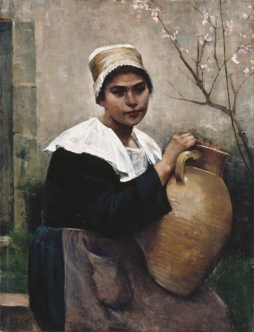 Bretagnelaistyttö ruukku kädessä