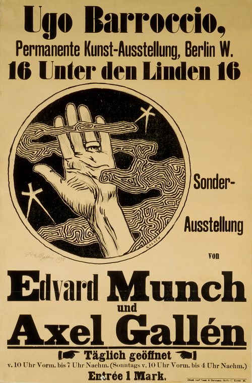 Munchin ja Gallenin näyttelyn juliste