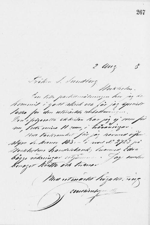 Paul Sinebrychoffin kirje Sigrid Sundborgille 2.8.1895