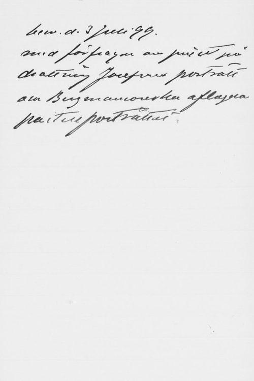 Sigrid Sundborgin kirje Paul Sinebrychoffille 3.7.1899