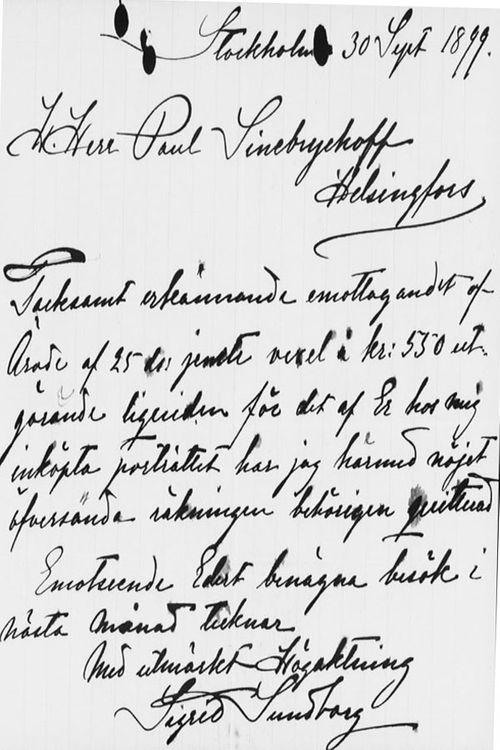 Sigrid Sundborgin kirje Paul Sinebrychoffille 30.9.1899