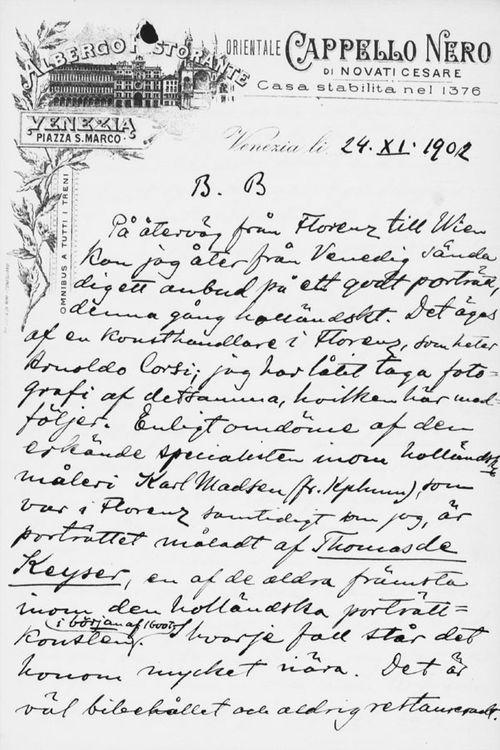 Osvald Sirénin kirje Paul Sinebrychoffille 24.11.1902