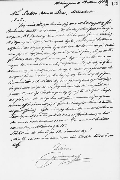 Paul Sinebrychoffin kirje Osvald Sirénille 14.3.1903