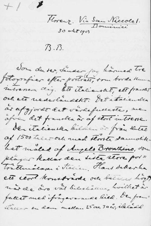 Osvald Sirénin kirje Paul Sinebrychoffille 30.10.1903