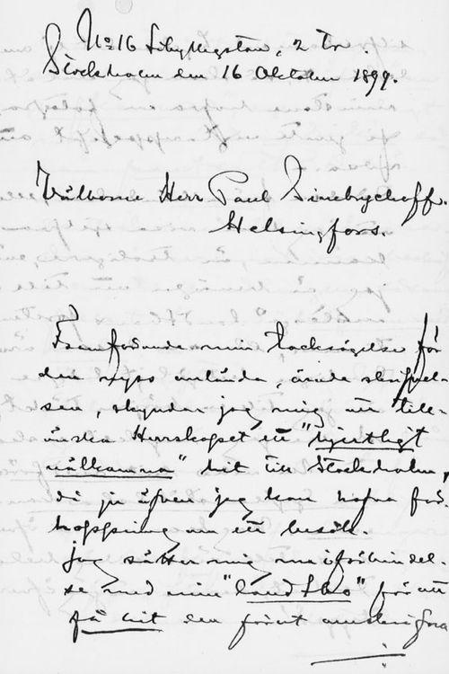 Axel Durlingin kirje Paul Sinebrychoffille 16.10.1899