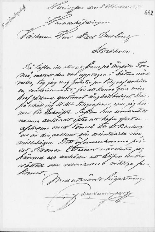 Paul Sinebrychoffin kirje Axel Durlingille 2.10.1899