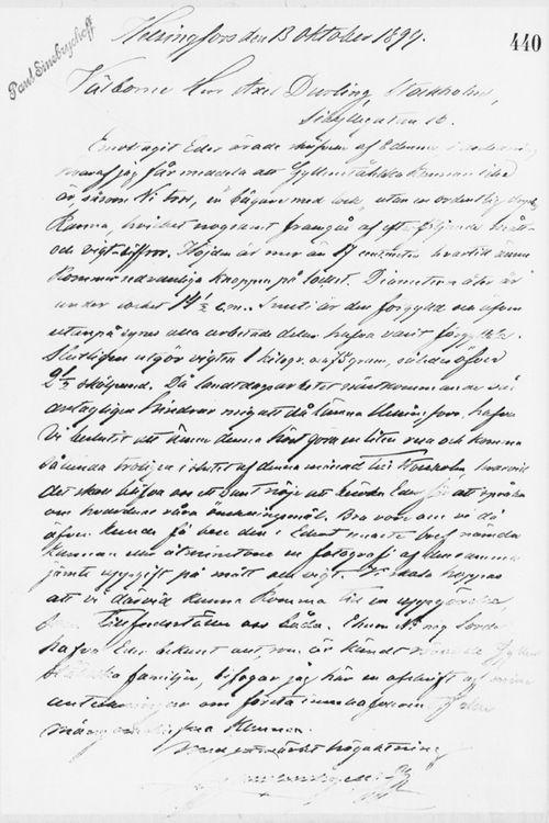 Paul Sinebrychoffin kirje Axel Durlingille 13.10.1899