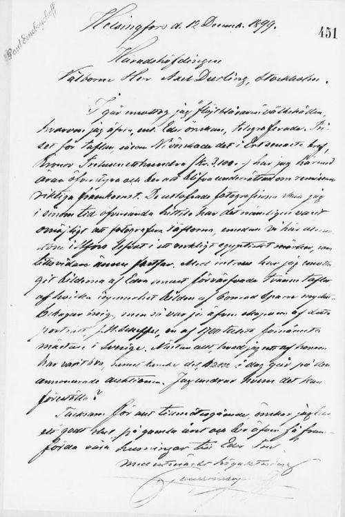 Paul Sinebrychoffin kirje Axel Durlingille 12.12.1899