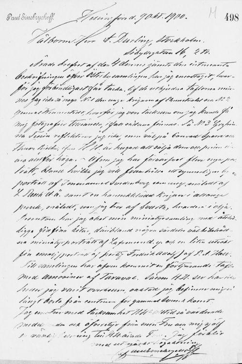 Paul Sinebrychoffin kirje Axel Durlingille 9.10.1900