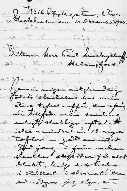 Axel Durlingin kirje Paul Sinebrychoffille 10.12.1900