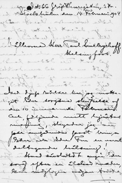 Axel Durlingin kirje Paul Sinebrychoffille 14.2.1904