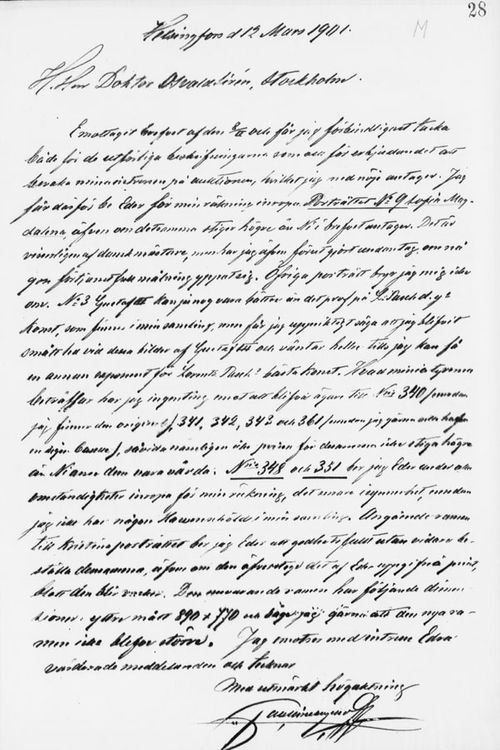 Paul Sinebrychoffin kirje Osvald Sirénille 12.2.1901