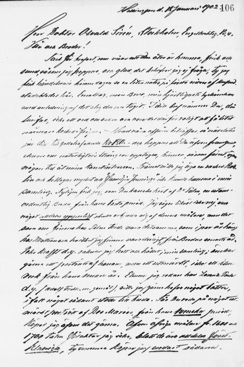 Paul Sinebrychoffin kirje Osvald Sirénille 18.1.1902