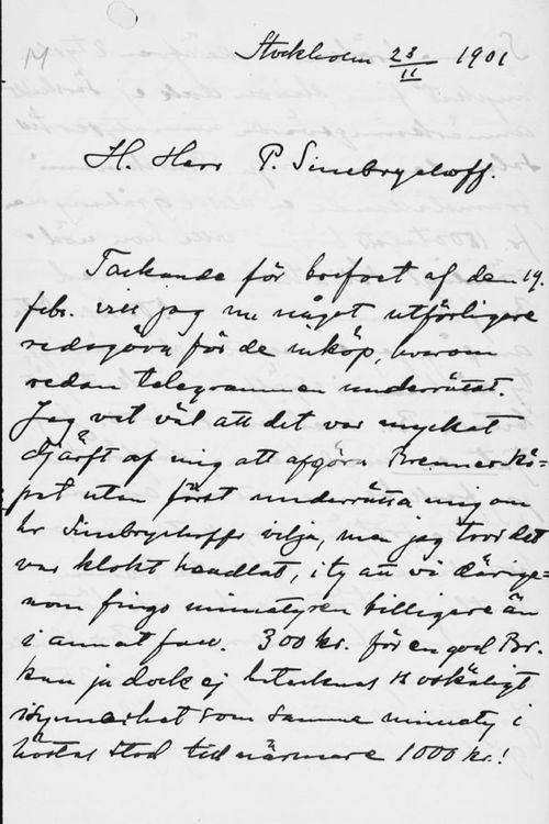 Osvald Sirénin kirje Paul Sinebrychoffille 23.2.1901