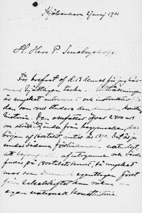 Osvald Sirénin kirje Paul Sinebrychoffille 27.5.1901