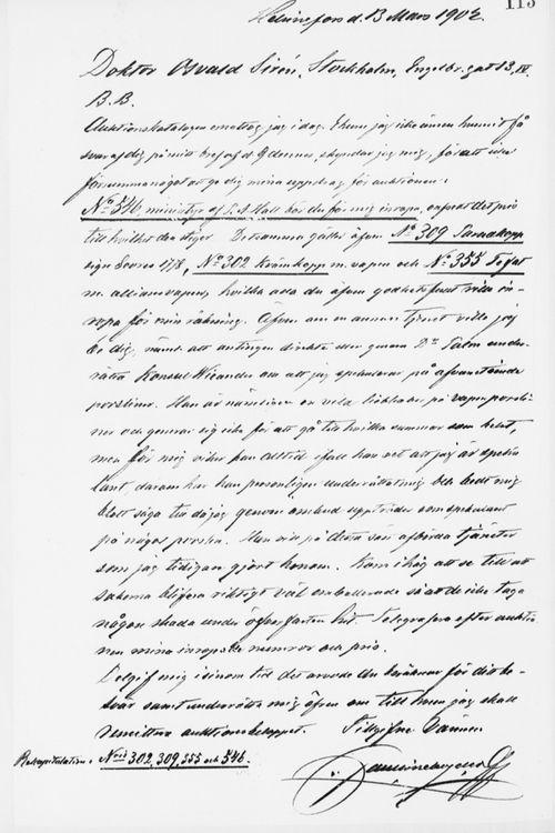 Paul Sinebrychoffin kirje Osvald Sirénille 13.3.1902
