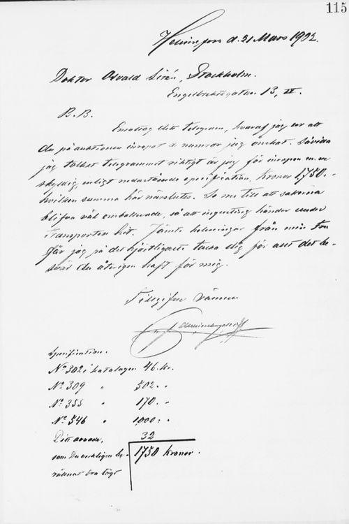 Paul Sinebrychoffin kirje Osvald Sirénille 21.3.1902