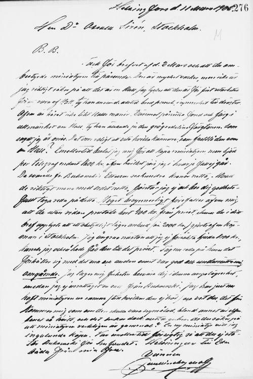 Paul Sinebrychoffin kirje Osvald Sirénille 11.3.1905