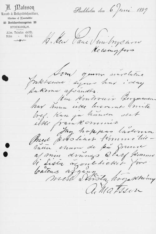Abr. Matssonin kirje Paul Sinebrychoffille 6.6.1899