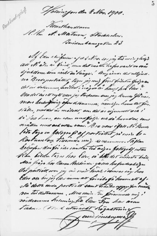 Paul Sinebrychoffin kirje Abr. Matssonille 8.11.1900