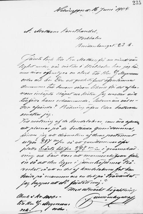 Paul Sinebrychoffin kirje Abr. Matssonille 16.6.1904