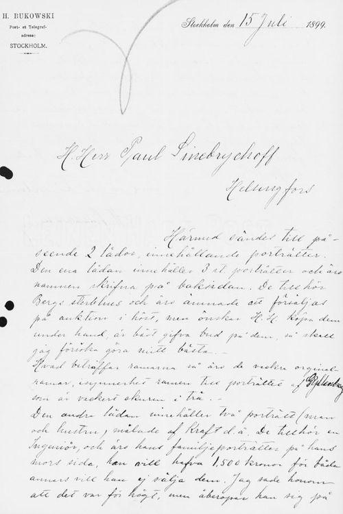 Henryk Bukowskin kirje Paul Sinebrychoffille 15.7.1899