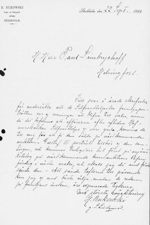 Henryk Bukowskin kirje Paul Sinebrychoffille 22.9.1899