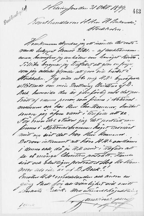 Paul Sinebrychoffin kirje Henryk Bukowskille 31.10.1899